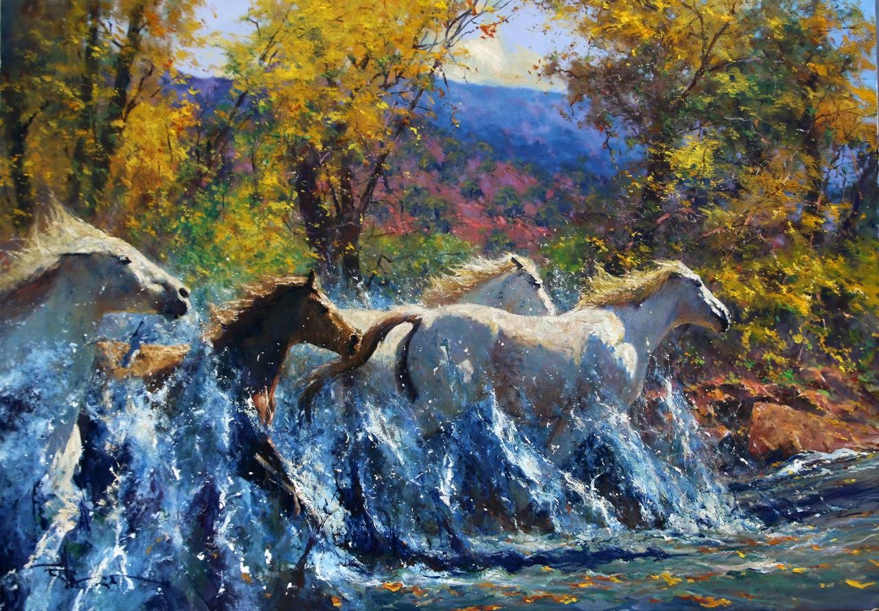 """Into the Wind"" - 47"" x 67"" - Oil - Robert Hagan"