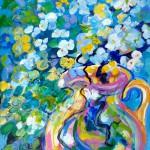 "Christine Reimer - Pink Vase and Pink Bougain - Acrylic - 16"" x 12"""