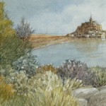 "Gerald Brommer - Mont Ste. Michel, France - Watercolor - 8"" x 18"""