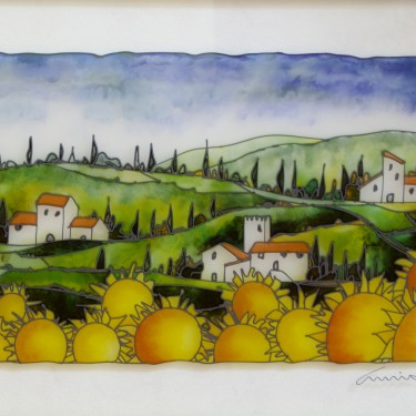 "Massimo Cruciani - Toscana con Girasoli - Oil on Glass - 16"" x 24"""