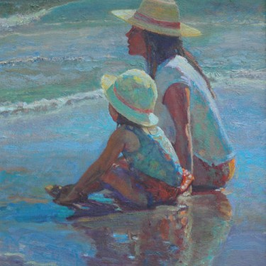 "W. Downey Dyer-""Mommy And Me""-Oil-22x20"
