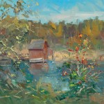 "Guido Frick - Boathouse on Bommer Pond - Oil - 27.5"" x 31.5"""