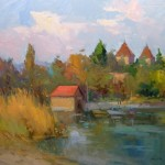 "Guido Frick - Tranquil Waters on the Isle of Reichenau - Oil - 27.5"" x 31.5"""
