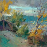 "Guido Frick - Swiss Shoreline, Lake of Constance - Oil - 27.5"" x 27.5"""