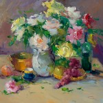 "Guido Frick - Still Life with Flowers - Oil - 36"" x 36"""