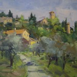 Guido Frick-Mountain Village In Tuscany-Oil-24x30