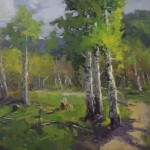 Guido Frick-Aspen Trees In A Mountain Path-Oil-36x48