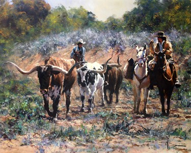 "Robert Hagan - Long Horn Cattle Drive - Oil - 30"" x 40"""