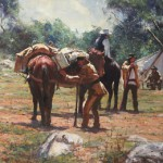 "Setting Up Camp - 24"" x 36"" - Oil - Robert Hagan"