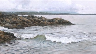 "Tiffany Hastie - Tide Coming In - Oil - 1.75"" x 5.25"""