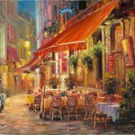 Haixia Liu - Cafe in Light, Brussels - Oil - 18&quot; x 24&quot;