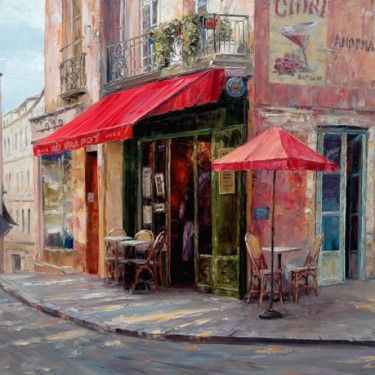 "Haixia Liu - Hillside Cafe - Oil - 24"" x 30"""