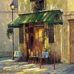 Haixia Liu - Shaded Cafe - Oil - 30&quot; x 24&quot;