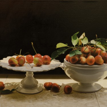 "Yingzhao Liu - Cherries in the White Bowl and Plate - Oil - 18"" x  26"""