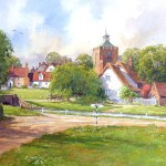 "Ian Ramsay - Village of Finchingfield, Essex - Watercolor - 21"" x 29"""