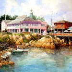 "Ian Ramsay - Entrance To Monterey Fisherman's Wharf - Watercolor - 18"" x 26"""
