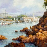 "Ian Ramsay - Monterey Harbor - Watercolor - 18"" x 26"""