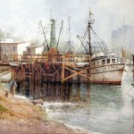 "Ian Ramsay - Boat Dock, Moss Landing - Watercolor - 20"" x 28"""