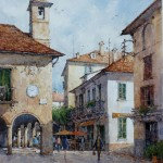 "Ian Ramsay - Town Center, Orta, Italy - Watercolor - 16"" x 12"""