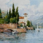 "Ian Ramsay - Villa On Lake Como - Watercolor - 12"" x 16"""