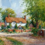 "Ian Ramsay - Country House, Winchester, England - Watercolor - 14"" x 21"""