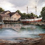 "Ian Ramsay - Schooner At Ballard Boat Works - Watercolor - 19"" x 25"""