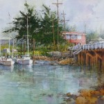 "Ian Ramsay - Inner Harbor, Moss Landing - Watercolor - 12.5"" x 20"""