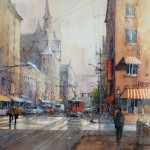 "Ian Ramsay - Cityscape, Red Trolley - Watercolor - 18"" x 14"""