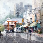 "Ian Ramsay - Hachimangu Shrine, Morioka - Watercolor - 10"" x 14"""