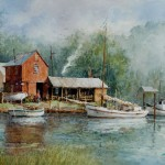 "Ian Ramsay - James River Dock, Virginia - Watercolor - 12"" x 18"""