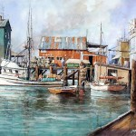 "Ian Ramsay - Pier at Westport, Washington - Watercolor - 14"" x 21"""