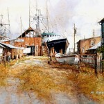 "Ian Ramsay - Boatyard in Willapa Bay, Washington - Watercolor - 14"" x 21"""