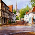 "Ian Ramsay - Village of Thaxted Essex - Watercolor - 14"" x 21"""
