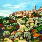 "Christine Reimer - Hilltown Above Calvi - Acrylic - 16"" x 20"""