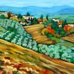 "Christine Reimer - Vineyard with Distant Hills, Tuscany - Acrylic - 20"" x 40"""