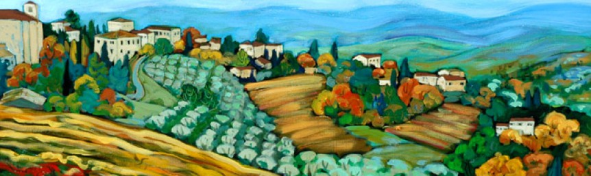 "Christine Reimer - Vineyard with Distant Hills, Tuscany - Acrylic - 20"" x 40"""