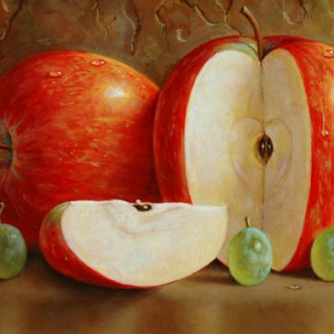 "Jared Sines - Red Apple/Green Grapes - Oil - 5"" x 7"""