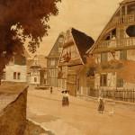 """Schillersdorf - 28"""" x 22"""" - Marquetry - Jean Charles Spindler"""