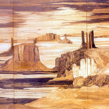 "Jean Spindler - Monument Valley - Marquetry - 191"" x 101"""
