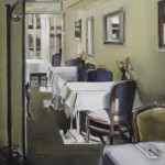 "Cozy Dining - 16"" x 16"" - Oil on Canvas - Thalia Stratton"