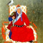 "Portrait of Genghis Khan - 40"" x 32"" - Acrylic on Gold -Mou-Sien Tseng"