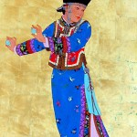 "Mongolian Festival Dancer - 40"" x 20"" - Acrylic on Gold - Mou Sien Tseng"