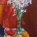 "Tall Gladiolas with Lemons and Watermelon - Acrylic - 34"" x 20"" - Angus Wilson"