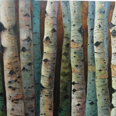 "Kenneth Wilson - Aspens (Diptych) - Oil - 56"" x 36"""