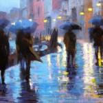 """Winter Rain in Venice #10 - 16"""" x 20"""" - Oil on Canvas - Tae Park"""