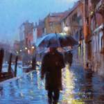"""Winter Rain in Venice #11- 20"""" x 16"""" - Oil on Canvas - Tae Park"""