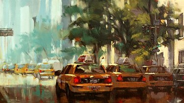 "Hye Seong Yoon - After the Rain - Oil - 10"" x 30"""