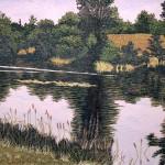 """Clayton Pond""- 12"" x 18.5"" - Reduction Woodcut Print - Gordon Mortensen"