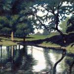 """Catlin Pond""- 22"" x 36"" - Reduction Woodcut Print - Gordon Mortensen"