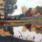 """Autumn Pond- 17.25"""" x 24"""" - Reduction Woodcut Print - Gordon Mortensen"""